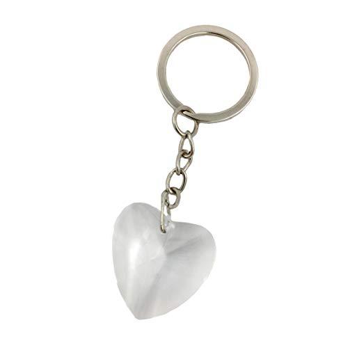 Chrome Key Chain with Crystal Heart Wedding Favors, 30