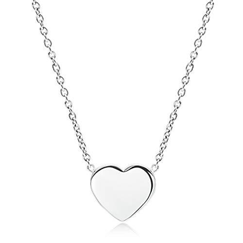 LENIRA® Hochwertige Frauen Herz Halskette - perfekt geeignet als Geschenk + Schmuckverpackung (Silber)