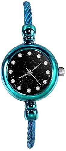 JZDH Mano Reloj Reloj de Pulsera de Pavo Real de Pavo Real para Mujeres Reloj de Pulsera de Lujo de Lujo Reloj de Acero Completo Relogiono Reloj de Pulsera Relojes Decorativos Casuales (Color : Blue)