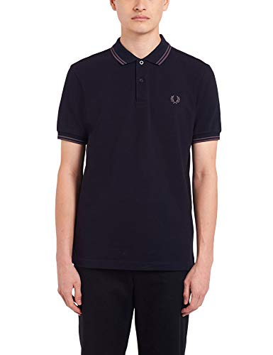 Fred Perry Men's Twin Tipped Polo T-Shirt Regular Fit Navy in Size Large