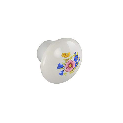 Style Selections #B401-35.3-WT - 1-1/2 in. (38mm) Round Cabinet Knob - White with Flower Design - 25 Pack