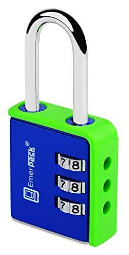 Candado de Combinacion Para Taquilla de Gimnasio-Gym, Colegio, Vestuario, Escuela/Sin Llave con Codigo Numerico de 3 Digitos Contraseña Varios Colores Arco Largo (Azul-Verde)
