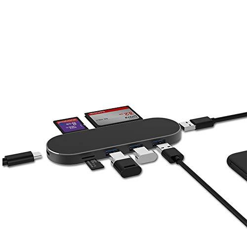 Baseus concentrador USB C para iPad Pro, estación de acoplamiento para iPad Pro 2018, 2019, 2020, con 4K HDMI, PD puerto, SD / lector de tarjetas micro, USB 3.0 de carga, toma de auriculares 3,5 mm