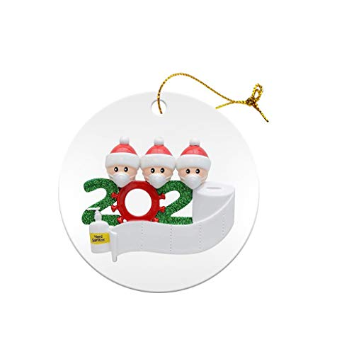 OLOPE Christmas Ornaments 2020 Quarantine Survivor Family Customized Christmas Decorating Kits Creative Gift for Family, Christmas Party Decoration 1-7 Family Members (1Pcs, Tag Family of 3)