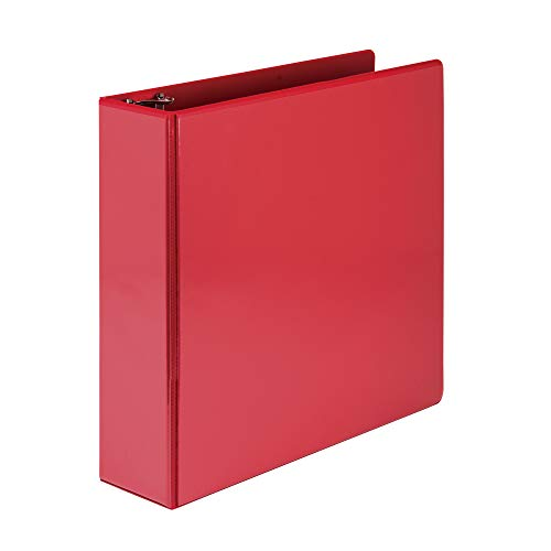 Samsill Economy 3 Ring Binder Organizer, 4 Inch Round Ring Binder, Customizable Clear View Cover, Red Binder