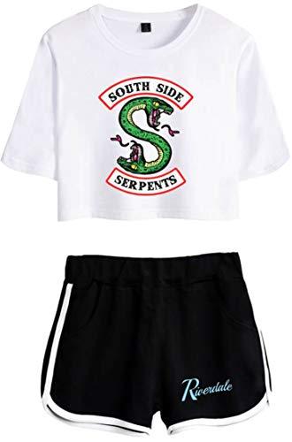 OLIPHEE Camisa de Riverdale Impresa Serpiente con Pantalones Cortos de Verano para Mujer DIYLOGObohe-XS-3