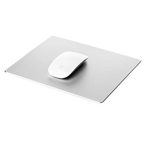 Desire2 Mousepad Gaming Aluminium Mauspad Rechteckig Wasserfest Anti-Rutsch Gummi-Unterlage kratzfreie Oberfläche Maus Pad kompatibel mit Apple Mac, MacBook, iMac, Computer, Laptop, Maus – Silber