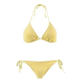 ASBAYSON Original Jacquard Bikini Swimwear Summer Beach Sweet 3D Plaid Sexy Swimsuit Bikini for Women Girls 206301  Goose Yellow L