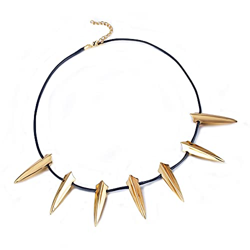 BULABULA Chic Alloy Necklace for Black Panther Cosplay Pendant Wolves Fangs Shape Necklace for Halloween Party