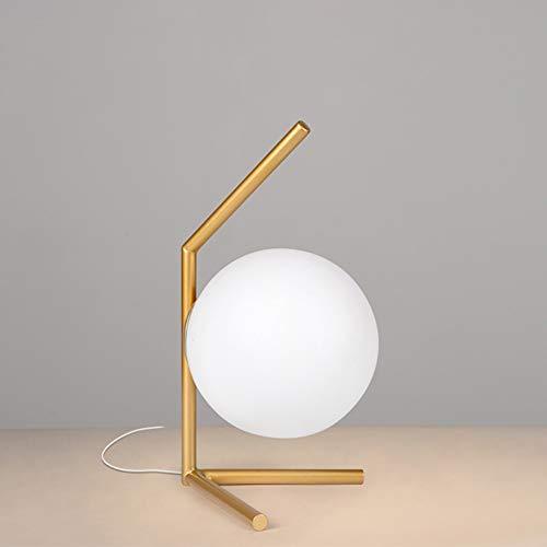 Tesysyet Simple LED Moderno, Redondo, Dorado, de Hierro y Vidrio, Dormitorio, Sala de Estar, Restaurante, Sala de Estudio, lámpara de Mesa, lámparas (Size : B)