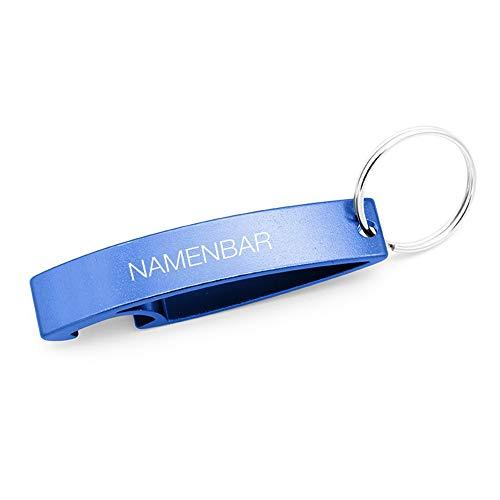Schlüsselanhänger mit Gravur/Schlüsselanhänger mit Namen - persönlicher Flaschenöffner mit Gravur - blau