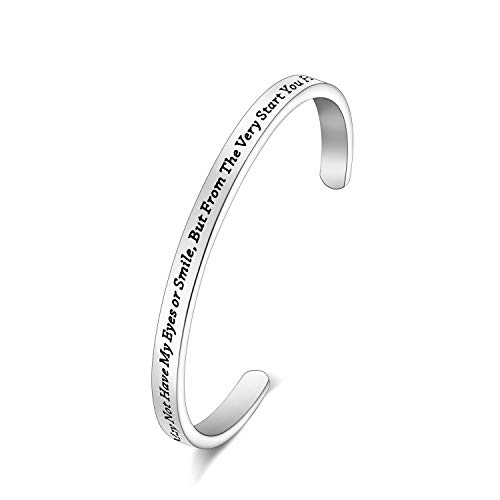 LQRI Adoption Bracelet Stepdaughter Bangel You May Not Have My Eyes or Smile But from The Very Start You Had My Heart Cuff Bangle for Step Daughter(sliver)