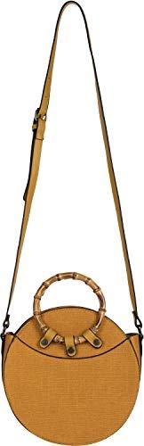 styleBREAKER Bolso de Bandolera Redondo de Mujer con Asas de bambú y Superficie estructurada, Bolso de Hombro, Bolso de asa, Bolso 02012292, Color:Mostaza