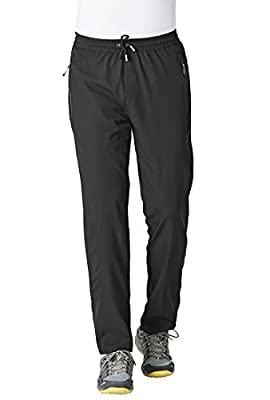 Rdruko Men's Casual Pants Lightweight Breathable Quick Dry Hiking Running Outdoor Sports Trousers(Black, US M)