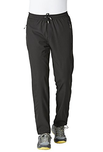 Rdruko Men's Casual Pants Lightweight Breathable Quick Dry Hiking Running Active Sports Trousers(Black, US L)