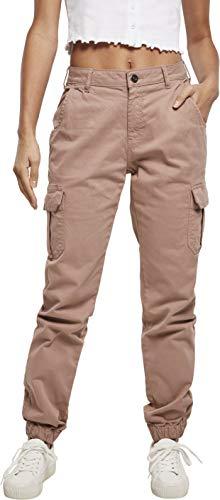 Urban Classics Damen Ladies High Waist Cargo Pants Hose, Duskrose, 28W Regular EU
