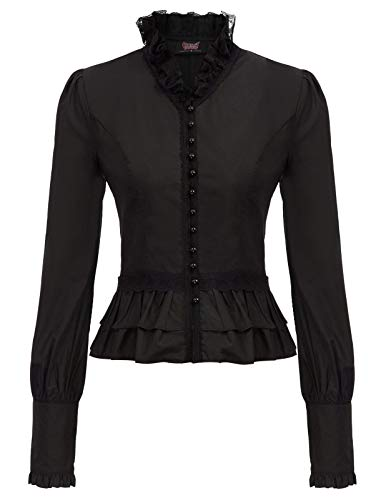 FEATURES: Corset lacing back, Long sleeve,cuff with buttons, Stand collar, Button placket, Garment is not elastic With exquisite floral lace decorated and ruffle hemline let you more attractive Warm Tips: Hand wash recommended. If you want to use mac...