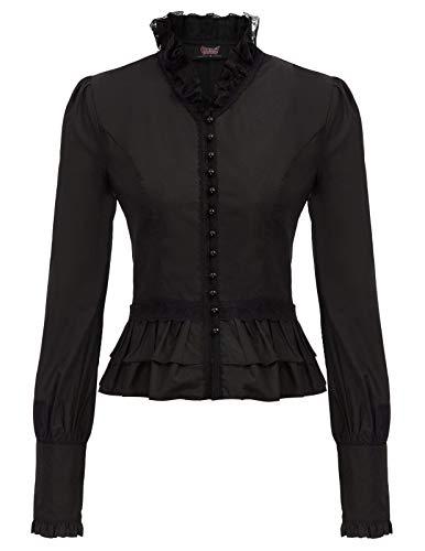 Blusa Victoriana para Mujer Camisa Steampunk Top para Mujer Top de Enc