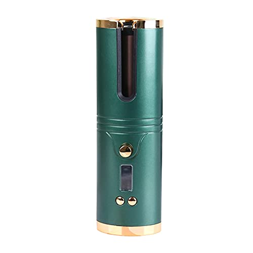 FISEYU 1 Unidades Rizador Inalámbrico De Calefacción Rápida Pantalla LCD Ultra-light Curling Hair Varita Para Niña Verde