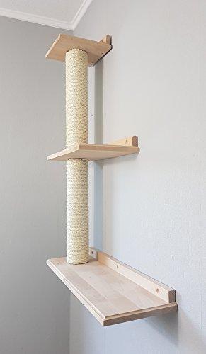 Katzen Wandpark, handgefertigte Tiermöbel / Luxusmöbel, Katzenmöbel in vielen Ausführungen, Dreifach-Plattform rechts. (W33)