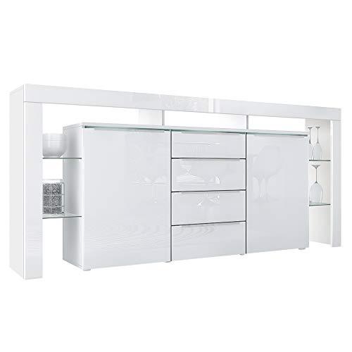 Vladon Buffet Commode Lima Nova, Corps en Blanc Mat/Façades en Blanc Haute Brillance