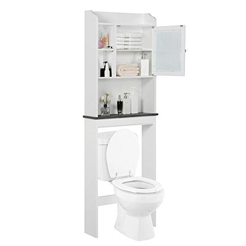 Yaheetech Over The Toilet Cabinet Space-Saving - Bathroom Cabinet w/Adjustable Shelves, 23.2in L x 7.4in W x 68.9in H