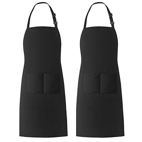 Xornis 2 Pack Bib Aprons with 2 Pockets Kitchen Apron Cooking Chef, Black