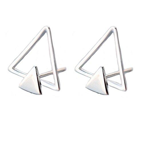 Helen de Lete - Pendientes minimalistas de plata de ley 925 con diseño de doble triángulo
