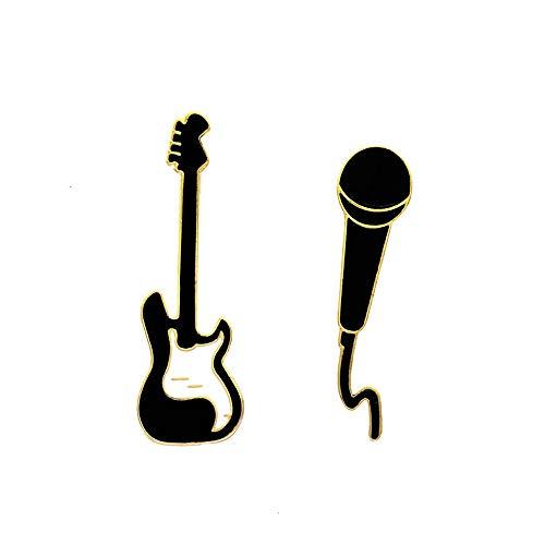 JIYAOANDX 2PC Muziek Lapel Pins Gitaar Microfoon Emaille Broches Vrouwen Mannen Leuke Verjaardag Gift Bag Jas Jurk Decors