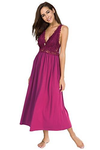 Alcea Rosea Damen Schlafwäsche Nachthemd mit Spitze V Ausschnitt ärmellos Elegante Nachtwäsche Negligé (Rose rot, XXXL)