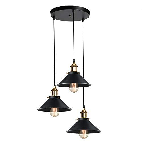 iDEGU Lámpara de techo con 3 luces, lampara colgante vintage diseño Edison de metal iluminación de techo de cocina comedor - 30cm, negro