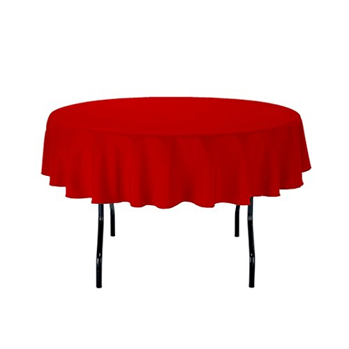 "1 Pack 24"" RED ROUND POLYESTER TABLECLOTH FOR WEDDING PARTY & VENUE DECORATION"