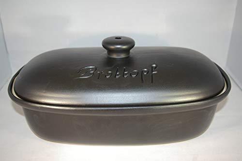 Töpferei Seifert Brottopf schwarz matt Gross 40 cm | Brotkasten | Brotbox | Brotdose | Brotbehälter | Steinzeug | LxB 41x25