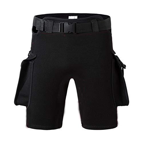 HOUJHUR Hombres Mujeres Sumergible Sumergible Bolsillo del pantalón de la Pierna Bag Vendaje Pantalones Sumergible Engrosamiento Equipo de Buceo Pantalones Cortos (Color : Negro, Size : XL)