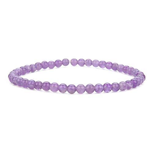 BALIBALI 4MM Mini Gemstone Energy Bracelets Tiny Amethyst Bracelet Natural Stone Statement Bracelet Charm Beaded Couples Bracelets