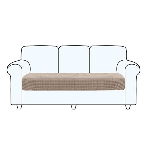 TAOCOCO Fundas de cojín para sofá,Protector de cojín de Asiento de Tela de poliéster de Alta Elasticidad (Caqui, 3 Asientos)