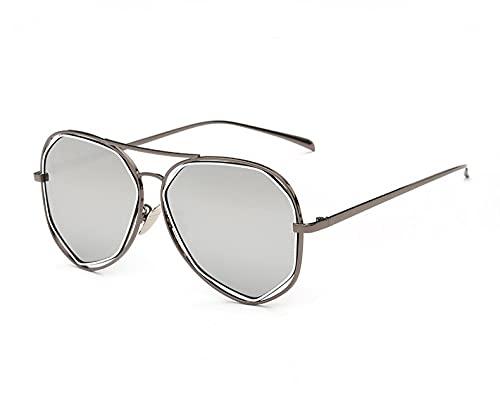 JINZUN Gafas de Sol de Metal de Moda polígono Gafas de Sol Huecas Tendencia Anti-Ultravioleta sombrilla Espejo Marco de Pistola Mercurio Blanco