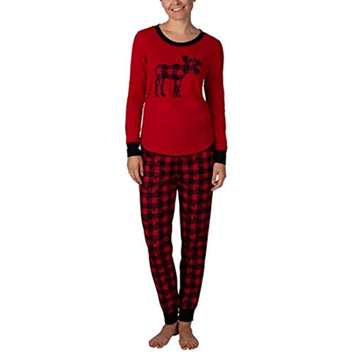 Eddie Bauer Ladies Family Jogger and Long Sleeve Top Sleep Set (L, Tango Red)