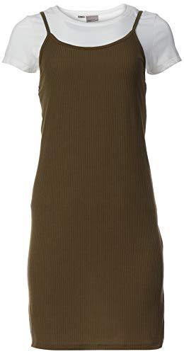 VERO MODA Damen VMNOOR Slip SS Short Dress JRS Kleid, Grün (Ivy Green Detail:White T-Shirt), 40 (Herstellergröße: L)