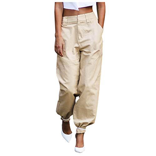 Damen Pants Fitness Shorts Outdoor Taschen Strand Arbeit Hosen Cargo Pant Frau Sommer Sport Lange Kurze Bettwäsche aus Polyester Lose Patchwork Overall Lange Hosen (XXL, Khaki)