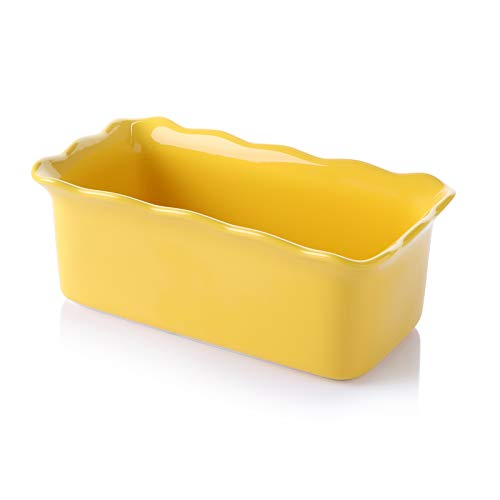 Sweese 519.119 Porcelain loaf pan for Baking, Non-Stick Bread Pan Cake Pan, Perfect for Bread and Meat, 9 x 5 inches, Vibrant Yellow