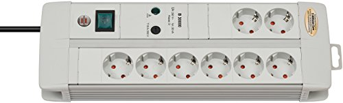 Brennenstuhl 1256550378 Premium-Line - Regleta de 8 enchufes con interruptor (4 unidades), color...