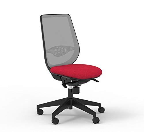 Silla de oficina con respaldo gris y asiento rojo (rojo)