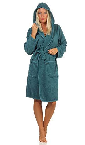 NATURA WALK Bademantel Damen mit Kapuze, 100% Bio Baumwolle, aus kontrolliert biologischem Anbau Größe M, Farbe Petrol