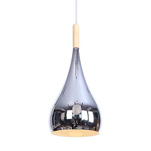 salle à manger lampe table à manger lumière pendante rond métal Ombre lampe pendentif bois décoration Lampe suspendue, moderne Suspension pour salle de séjour chambre à coucher restaurant, 1- E27