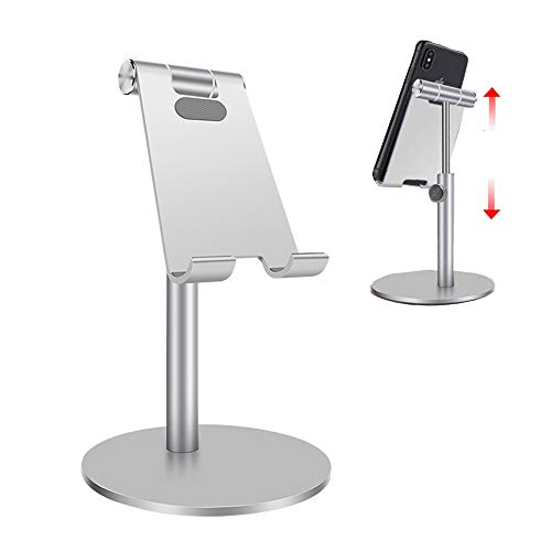 Cell Phone Stand for Desk, Tablet Stand Holder,Height Adjustable Rotating Aluminum Dock for Recording and viedo Compatible with 3.5-12.9 inch iPad iPhone Samsung, Microsoft pro,Kindle (Silver)