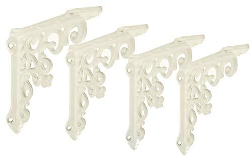 NACH js-90-061AW Cast Iron Victorian Shelf Mount Bracket, Small 4.92 x 1.18 x 4.92 Inches, White, 4 Pack