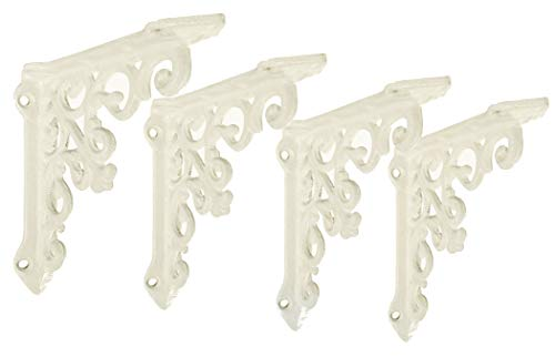 2 Pack Heavy Duty and Thick Cast Iron Victorian Shelf Bracket, Medium 10.6 x 1.96 x 10.6, L-Shaped Shelf Bracket, DIY Projects, Hardware Included, js-90-061AW by North American Country Home