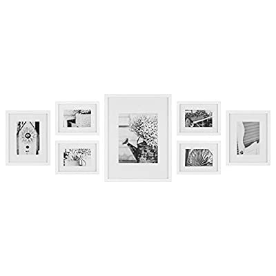 Gallery Perfect Photo Kit with Decorative Art Prints & Hanging Template Gallery Wall Frame Set, 7 Piece, White, 7 Piece