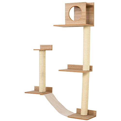 PawHut Wall-Mounted Multi-Level Cat Tree Activity Tower with Sisal-Covered Scratching Posts & an...